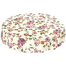 ANRO Hule Mesa Mantel de Hule Lavable Flores Beige Claro Redondo 100 cm, Toalla,