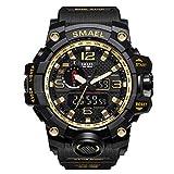 Armbanduhr Digitaluhr SMAEL Wasserdichte Herren Uhren Sportuhr Military Watch für Männer und Jungen (Schwarz + Gold)