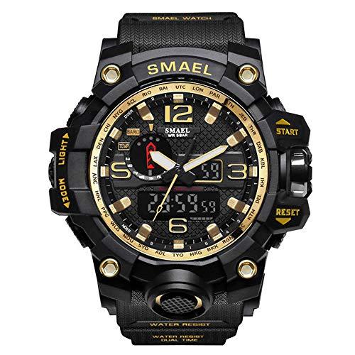 Armbanduhr Uhren Digitaluhr Wasserdichte Herren Sportuhren JSDTECH Military Watch für Männer und Jungen (Schwarz Gold)