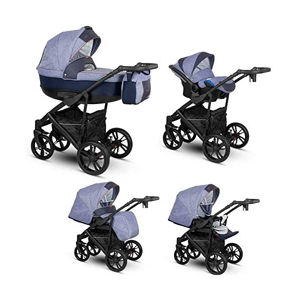 Lux4Kids Stroller Pram 2in1 3in1 Isofix Car seat 12 Colours Free Accessories OVE Grey Red VEO-5 4in1 car seat +Isofix Lux4Kids Lux4Kids Leo 3in1 or 2in1 pushchair. You have the choice whether you need a car seat (baby seat certified according to ECE R 44/04 or not). Of course the car is robust, safe and durable Certificate EN 1888:2004, you can also choose our Zoe with Isofix. The baby bath has not only ventilation windows for the summer but also a weather footmuff and a lockable rocker function. The push handle adapts to your size and not vice versa, the entire frame is made of a special aluminium alloy with a patented folding mechanism. 2