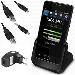 xubix USB Dock für Samsung Galaxy S2 SII S 2 II i9100 GT-i9100 Dockingstation / Tischladestation / Tischlader + 2x USB Datenkabel + USB Ladegerät Netzteil
