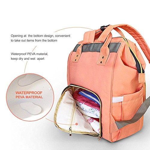 FunBoat Baby Wickeltasche Reise Rucksack,Isolierte Tasche, Wasserdicht Stoffe, Multifunktional, Passform für Kinderwage, Große Kapazität Modern Einzigartig Tragbar Handtasche Organizer (Farbe) Orange