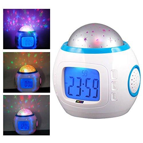 Eglemtek TM - Reloj despertador digital con proyección de estrellas, indicador de fecha, hora y temperatura, ideal para dormitorio infantil