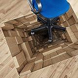 Ruvitex Home & Office 3D Dekor Bodenschutz Stuhlmatte | Holztunnel Bild | PVC Zubehör für Bodenbeläge | Innere | Original Innen | Kunst Bild | Bunt | Lebendige Fantasie 100 x 130cm | 1.5 mm Dicke