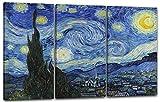 Printed Paintings Leinwand 3-teilig(120x80cm): Vincent Van Gogh - Die Sternennacht (1889)