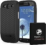 PowerBear Samsung Galaxy S3 Erweiterte Batterie [4500mAh] & Rückenschutz & Schutzgehäuse (Bis zu 2,2x Zusätzliche Batterieleistung) – Schwarz [24 Monate Garantie & Bildschirmschutz Inbegriffen]