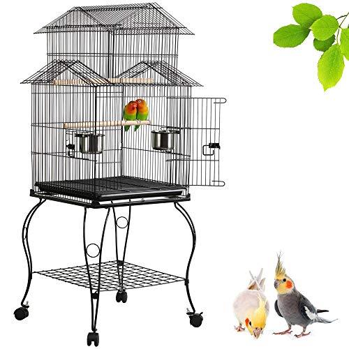 Yaheetech Gabbia Voliera per Uccelli Pappagalli in Metallo e Legno con Carrello Nera