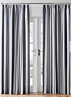 "Mali Striped Black Grey Cotton Blend Lined 46"" X 72"" - 117cm X 183cm Pencil Pleat Curtains from Curtains"