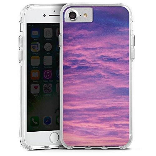 Apple iPhone X Bumper Hülle Bumper Case Glitzer Hülle Lila Wolken Himmel Bumper Case transparent