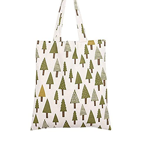 Oath_song Women's Cartoon Floral Fruit Print Canvas Tote Bag (L072-X'mas
