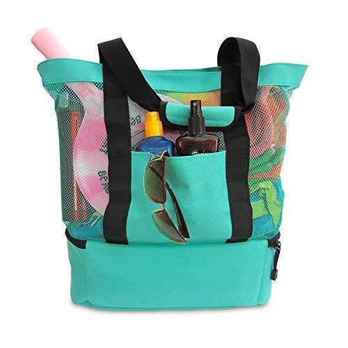 Pool Tasche (MOGOI Strandtasche Mit Reißverschluss Und Isolierte Picknick-Kühler, Extra Große Strandtasche Spielzeug-Einkaufstasche Mesh-Tasche Oder Pool-Tasche)