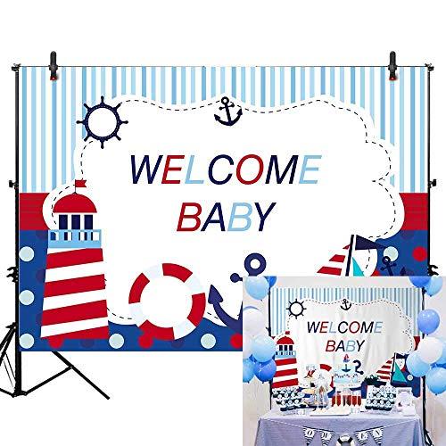 EdCott 7x5ft Junge Baby Prince Infant Nautisches Thema Willkommen Baby Fotografie Marineblau Marine Reise Hintergrund Baby Dusche Happy 1st First Birthday Banner Kuchen Tischdekoration Requisiten