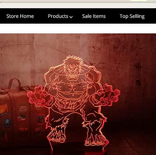 Guo Hulk 3D Nachtlicht - Dr. Banners Schreibtischlampe - Avengers - 3D Tischlampe - Kinderspielzeug - Mehrere Farben Können Ihre Schönheit Aufhellen -