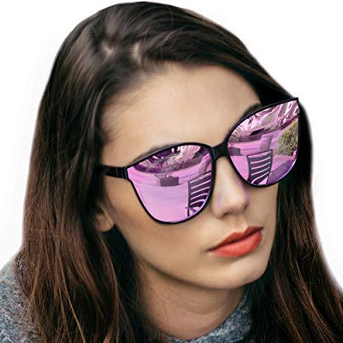 LVIOE Katzenauge Rahmen Damen Mode Sonnebrille UV400-Schutz Groß (Pink)