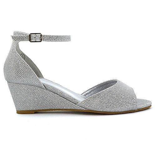 ESSEX GLAM Donna Cuneo Basso Cinturino alla Caviglia Peep Toe Sintetico Sandalo Argento Glitter