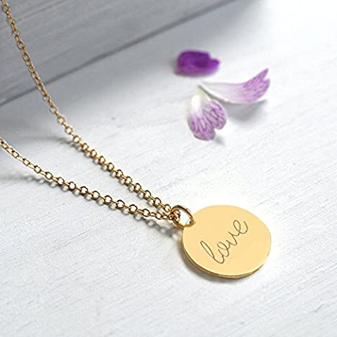 Personalised Gold Love Disc Pendant Necklace