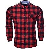 Camicia Uomo da Coraggiosi Anima Spazzolato Flanella Controllare Maniche Lunghe (Rosso Nero) M