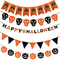 NYKKOLA Halloween Garland Bunting Banners Theme Hanging Flags for Halloween Decoration Party Supplies
