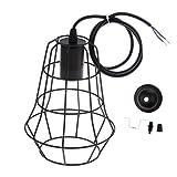 Homyl Retro Draht Lampenschirm E27 Lampenfassung schwarz Lampensockel Lampenaufhängung für Deckenleuchte Pendelleuchten Hängelampe - Typ 2