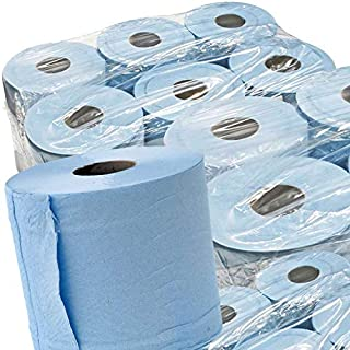 STAR SUPPLIES 48 x BLUE ROLL 2Ply centrefeed rolls, paper hand towels, absorbant, embossed