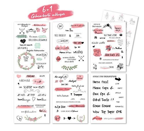 Brauriese Hochwertige Gästebuch Hochzeitsticker - liebevolle und einzigartige Gästebuchsticker mit wunderschönen Handschriftelementen - transparente Sticker und Sprüche (Muster 1)
