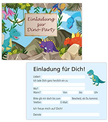 Mädchen Kostüm Fußball - 15er Kartenset Einladungskarten Kindergeburtstag, Geburtstagseinladungen Dinosaurier, Dino, Party-Einladungen (15 Karten Dino)