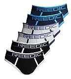 Reedic Herren Baumwoll-Slip 6er Pack, Größe Large (L), Farbe je 2x schwarz, dunkelblau, grau