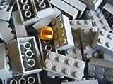 LEGO CITY - 50 Steine im seltenen neuen hellgrau mit 2x4 Noppen + 1 goldener Helm - BASIC STEINE