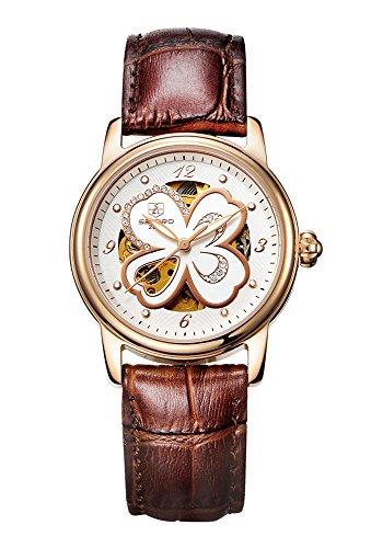SEKARO Damen-Armbanduhr,Leuchtende Nacht Wasserdicht Mechanische Uhren Klee Leder Uhr,6 Farboptionen(Braun)