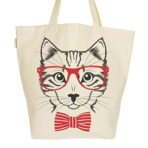 Grand Sac Cabas Fourre-tout Imprimé Toile Bio 37x45x20cm Tote Bag XL - Chat à lunettes rouges