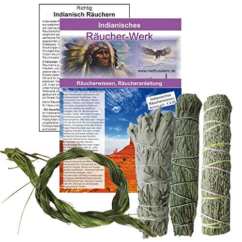 Schamanisches Lakota Dakota Indianer 6-tlg Räucherset. Räucherwerk White Sage Salbei Präriebeifuß Zedernspitzen Smudge Sticks + Sweetgrass + Anleitung + Booklet. 81018 -