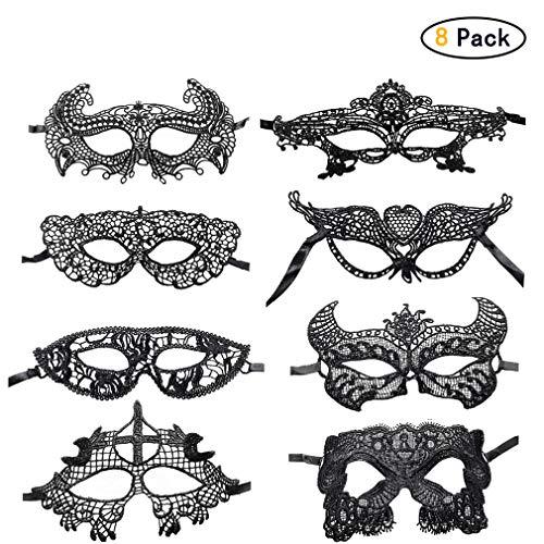 Hehong 8 Pack Halloween Spitze Maskerade Maske Venezianischen Frauen Spitze Maske Masquerade Sexy Augenmaske Sexy Lady Girl Spitze Augenmaske Für Karneval Party Karneval
