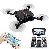 FQ777 FQ17W Pocket pieghevole WIFI FPV Drone con la macchina fotografica RC Quadcopter dei velivoli a distanza & APP Modalità senza testa di controllo Modalità altitudine tenere con telecomando (Nero) immagine