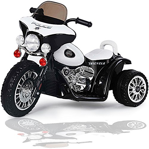 Kinder-Elektro-Polizei-Motorrad-Harley-Kindermotorrad-Akku-Elektromotorrad-Schwarz