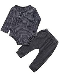 cc85791fa49a52 Kinlene Vestiti dei Pantaloni della Tuta del Bottone A Strisce delle Neonate  Infantili del Bambino