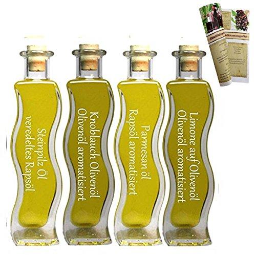 Geschenkset & Probierset | 4 x 100ml Öl | Steinpilz Öl – Olivenöl Limone – Knoblauch-Kräuter Öl – Parmesan Öl | mit Rezeptbroschüre