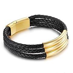 Idea Regalo - NELSON KENT Bracciale intrecciato in acciaio al titanio da uomo Cordino in cuoio personalizzato nero oro