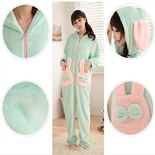DMMSS Damen Coral Fleece Bademantel Langarm Dicke Cartoon Pyjama Anzug Blue