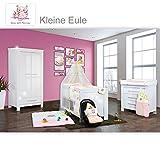 Babyzimmer Enni Hochglanz 18-tlg. mit 2 türigem Kl. + Textilien Eule, Rosa