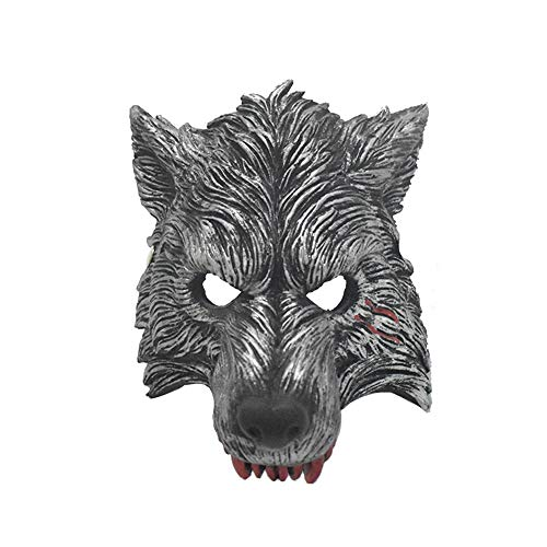 TREESTAR Halloween Maske Wolf Gesicht Tier Werwolf Horror Scary Lustige Grimasse Teufel Cosplay Party Maske Latex Headwear für Halloween, aufregende Party, Maskerade Party, Karneval (Rote Zähne)
