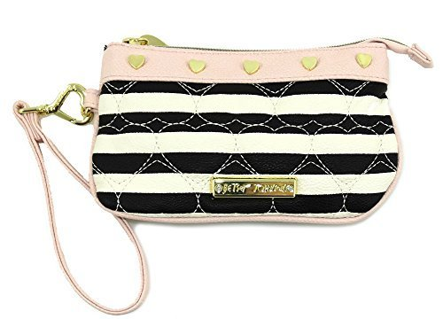 Betsey Johnson Be Mine Candy Strip Wristlet (Black/White/Pink/Gold)