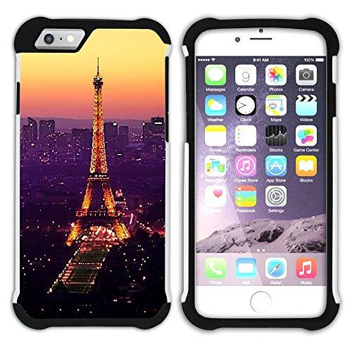 Graphic4You Paris Frankreich Eiffelturm Design Hart + Weiche Kratzfeste Hülle Case Schale Tasche Schutzhülle für Apple iPhone 6 Plus / 6S Plus Design #11