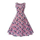 TEBAISE Sommer Frauen Konzert Formellen Anzug Vintage Druck Bodycon Sleeveless beiläufige Abendgesellschaft Prom Swing Kleid Geschichteten Rock(Rosa2,EU-34/CN-S)