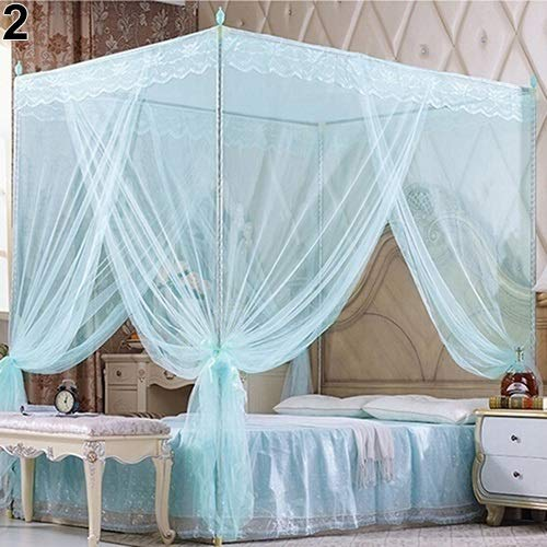 King-size-queen-size-bett-rahmen (W-shufang, Romantic Princess Lace Canopy Moskitonetz ohne Rahmen für Zwei vollwertige Queen-Size-Betten (Color : Blue King))