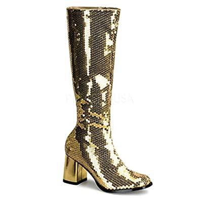 Bordello Stiefel mit Pailletten Spectacul-300SQ gold Gr. 36