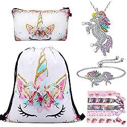 RLGPBON Cadeaux Licorne pour Les Filles Licorne Cordon Sac à Dos/Trousse de Maquillage/Bracelet/Collier/Élastiques