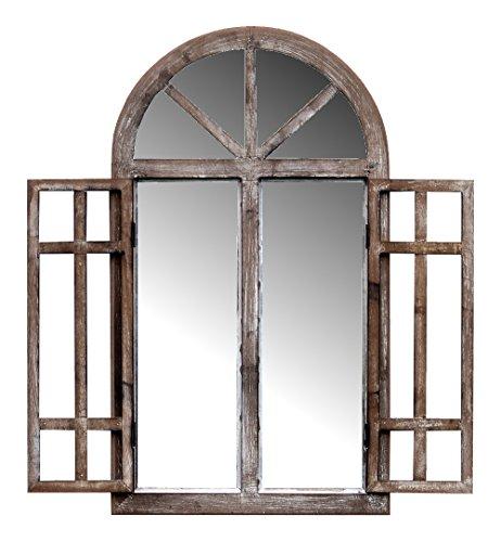 more-decor-de Spiegelfenster Rundbogenfenster mit Fensterläden - aus Holz - im Landhaus Stil - Braun - 40cm x 70cm