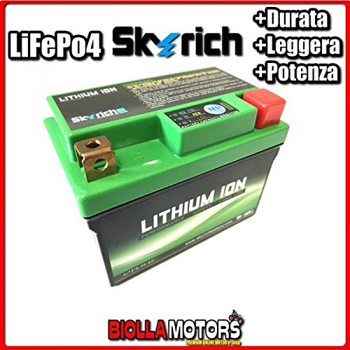 HJTZ7S-FP BATTERIA LITIO SKYRICH YTX7L-BS LiFePo4 612080 YTX7LBS MOTO SCOOTER QUAD CROSS