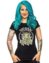 Vegan Girlie Shirt Vegan Love Animals schwarz bunt
