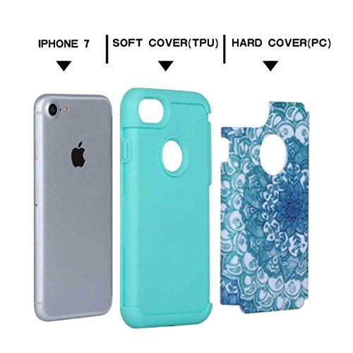 Custodia Iphone 7, con protezione per lo schermo in vetro temperato], boxtii® Morbido TPU + PC cover rigida, antigraffio assorbimento degli urti 2in 1Cover Posteriore Protettiva Per Apple iPhone 7,  #3 Blue